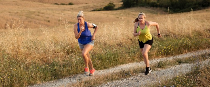keep your bones healthy: women running up hill