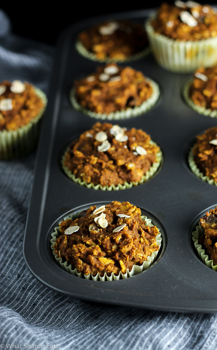 Healthy Pumpkin Oat Muffins with Chocolate Chips