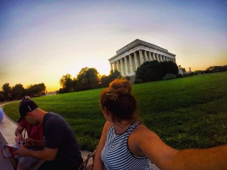 checking out the Lincoln monument at sunset