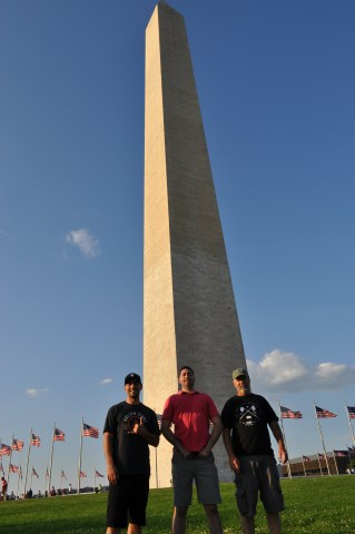 Josh, Rob, and Dad in front of the Washington Monument