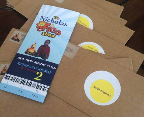 "Custom invitations I designed with ""egg"" labels"