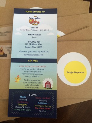 "Custom chica show invitations with ""egg"" labels"