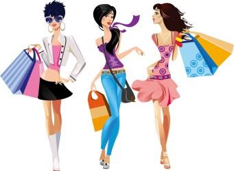 teens shopping vector