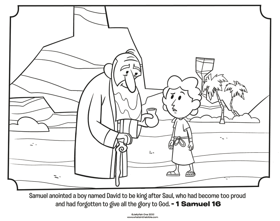 Samuel Anoints David Bible Coloring Pages What