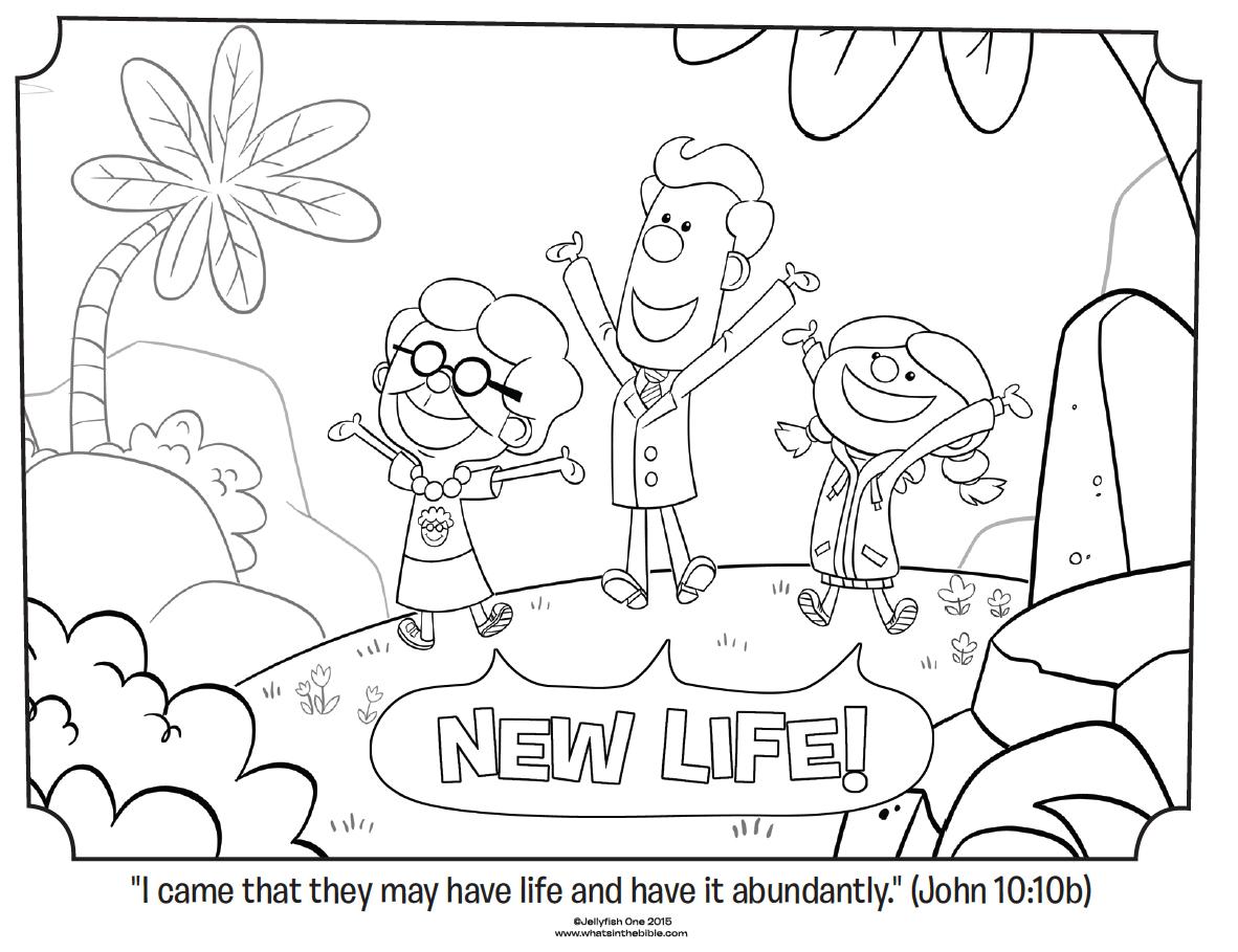New Life John 10 10b Coloring Page