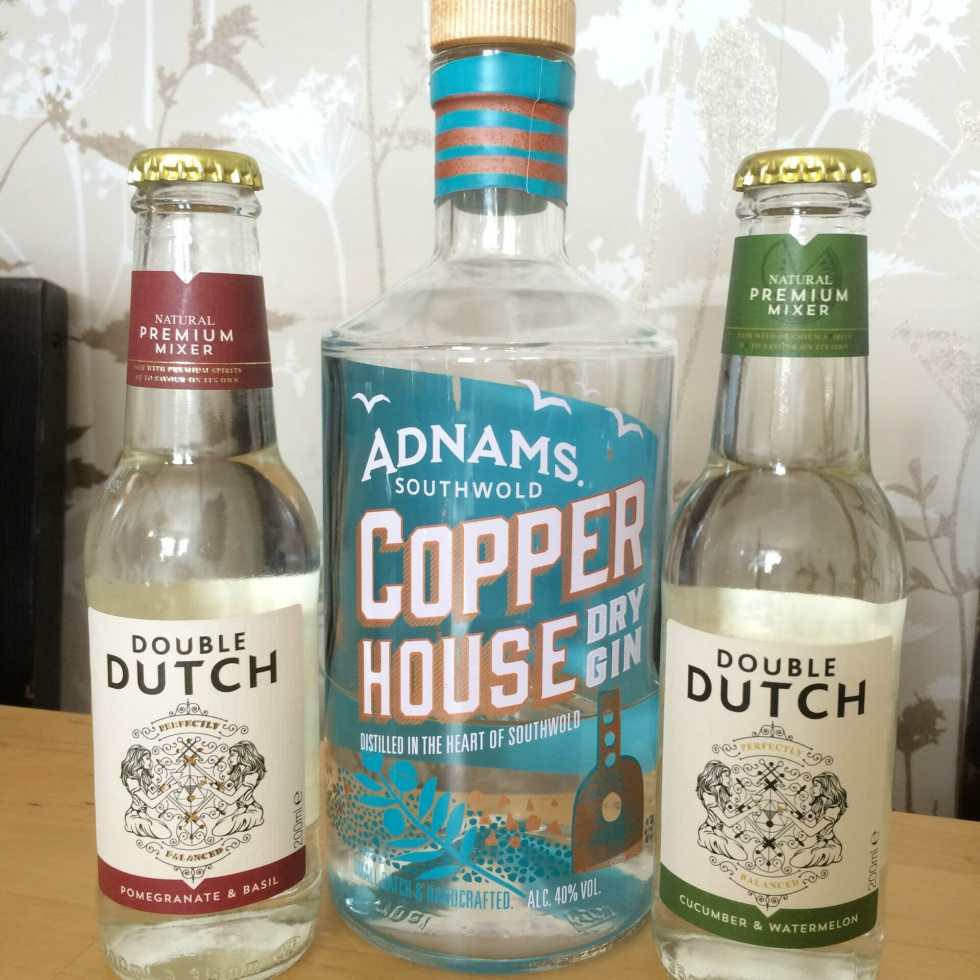 Adnams gin with Double Dutch tonics on What's Katie Doing? blog