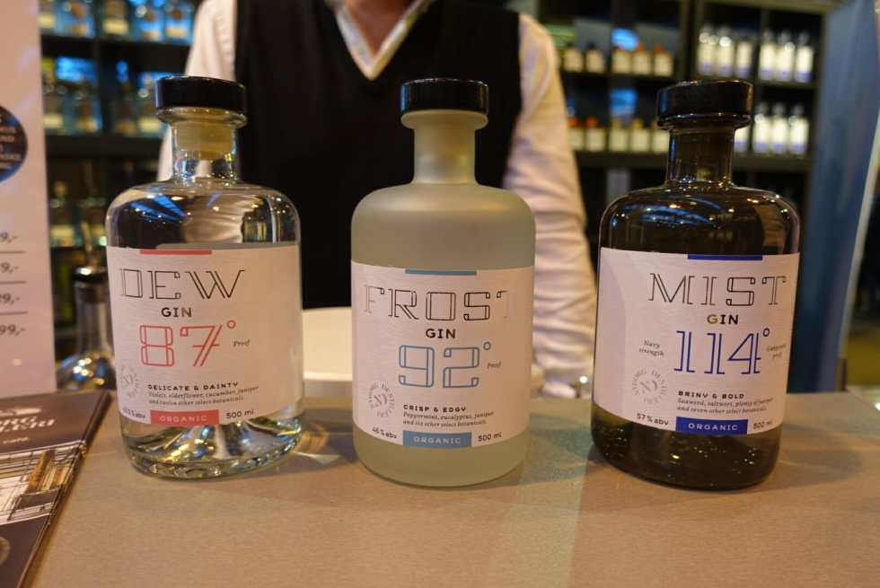 The three gins from Nybord distillery - Dew, Frost and Mist