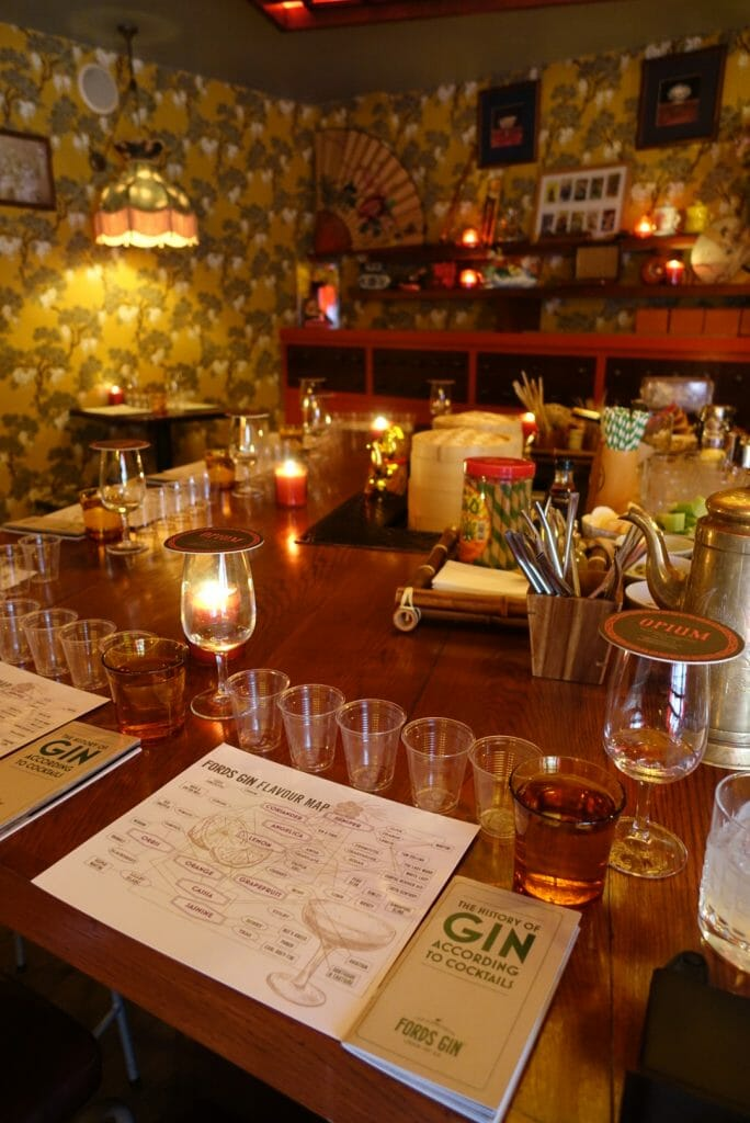 Our settings for the tasting, including the Ford's Gin flavour map