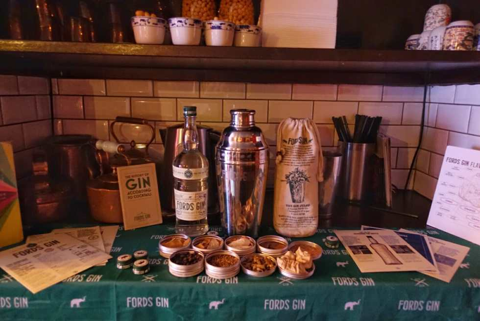 Ford's gin items and botanicals on display