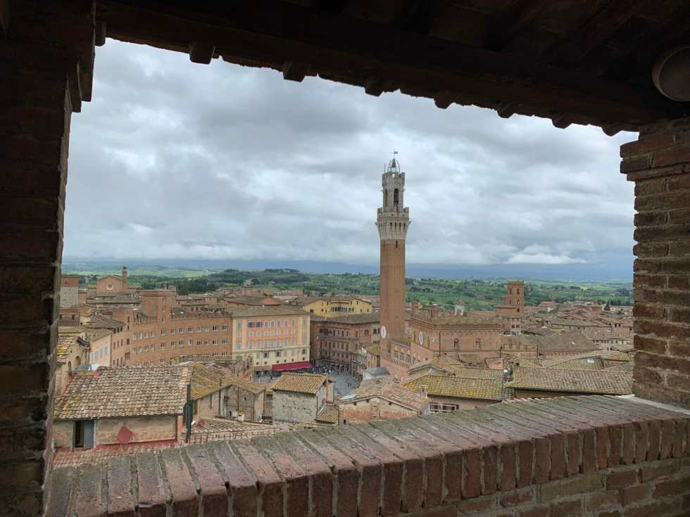 Centre of Siena framed by the access to the panoramic view