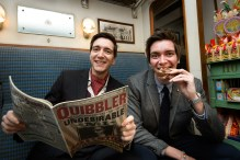 James and Oliver Phelps relaxing in the train carriage at Warner Bros. Studio Tour London - The Making of Harry Potter