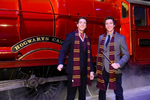 James and Oliver Phelps take their first look at the Hogwarts Express steam train and Platform 3/4 at Warner Bros. Studio Tour London