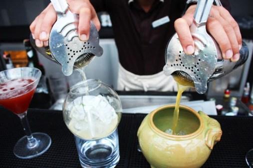 The deck Phnom Penh making cocktails