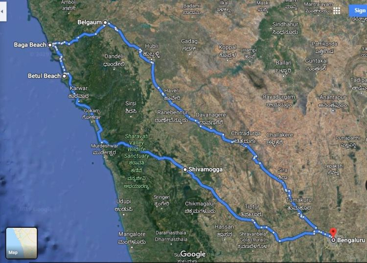 Goa diary route map