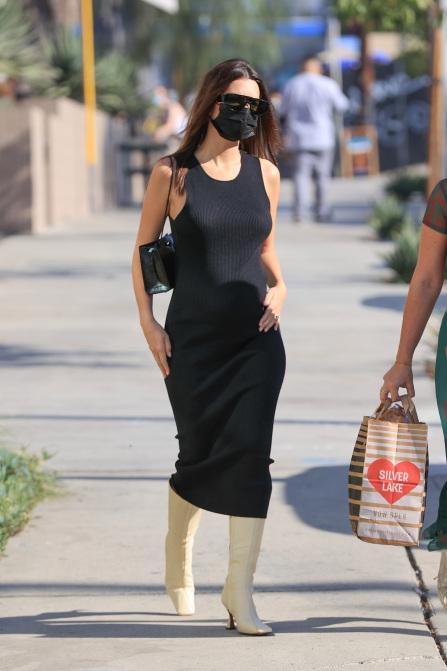 Emily Ratajkowski Wearing Black Midi Maternity Dress And Black Python Bagwhat Stars Own What Stars Own