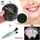 ACTIVATED CHARCOAL COCONUT TEETH WHITENING POWDER NATURAL ORGANIC + TOOTHBRUSH