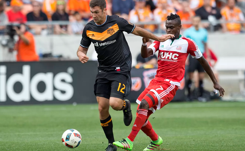 Houston Dynamo Will Bruin fights for control over the ball during the teams season opener against FC Dallas. (Thomas B. Shea-USA TODAY Sports)