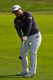 (AP Photo/Francois Mori). Inbee Park of Korea plays an approach shot on the 4th hole during the fourth round of the Evian Championship women's golf tournament in Evian, eastern France, Sunday, Sept. 16, 2018.