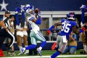 (AP Photo/Michael Ainsworth). Dallas Cowboys wide receiver Tavon Austin (10) pulls in a pass in front of New York Giants cornerback Curtis Riley (35) to score a 64-yard touchdown during the first half of an NFL football game in Arlington, Texas, Sunday...