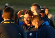(AP Photo/Matt Dunham). Europe's Ian Poulter, rear, jokes with Europe's Tommy Fleetwood before the European Ryder Cup team photo at Le Golf National in Guyancourt, outside Paris, France, Tuesday, Sept. 25, 2018. The 42nd Ryder Cup will be held in Franc...