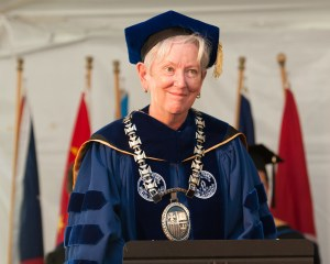 Pictured during Convocation in September 2015, Dr. Jane Gerety, RSM, begins her eighth year as president at Salve Regina University.