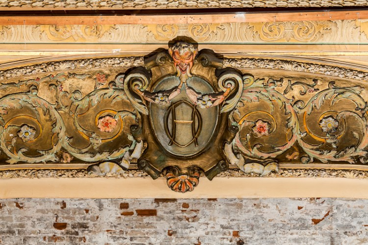 The intricate details atop the proscenium arch inside the theater. This gilded arch was hidden in 1970s when the theater was converted to a multiplex. It will be restored for the 2017 reopening.