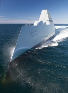 160421-N-YE579-003 ATLANTIC OCEAN (April 21, 2016) The future guided-missile destroyer USS Zumwalt (DDG 1000) transits the Atlantic Ocean to conduct acceptance trials with the Navy's Board of Inspection and Survey (INSURV). Acceptance Trials are the last significant shipbuilding milestone before delivery of the ship to the U.S. Navy, which is planned for next month. While underway, many of the ship's key systems and technologies including navigation, propulsion readiness, auxiliary systems, habitability, fire protection and damage control capabilities will be demonstrated to ensure they meet the Navy's requirements. (U.S. Navy photo/Released)