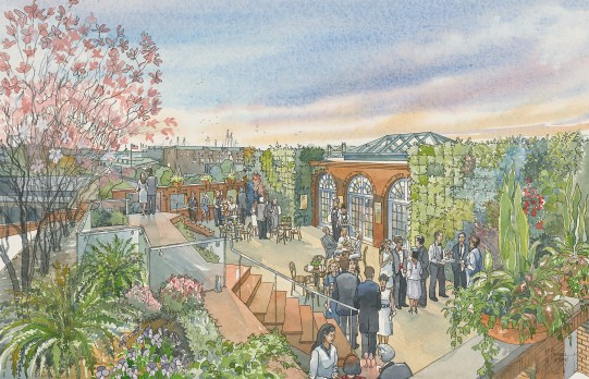 An artistic rendering of what the rooftop garden and atrium will look like.