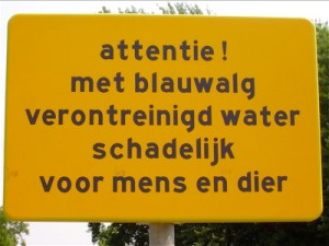 Sign: water poisoned with bacteria
