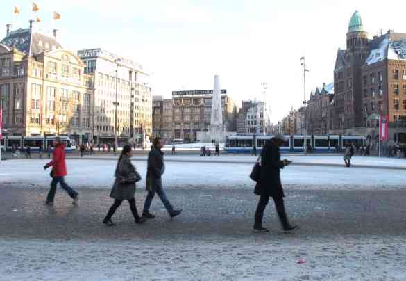 Amsterdam Dam Square in snow