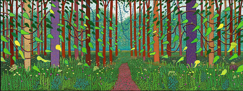"David Hockney ""The Arrival of Spring in Woldgate, East Yorkshire in 2011 (twenty eleven)"" Oil on 32 canvases (36 x 48"" each) 144 x 384"" overall © David Hockney Photo Credit: Richard Schmidt"