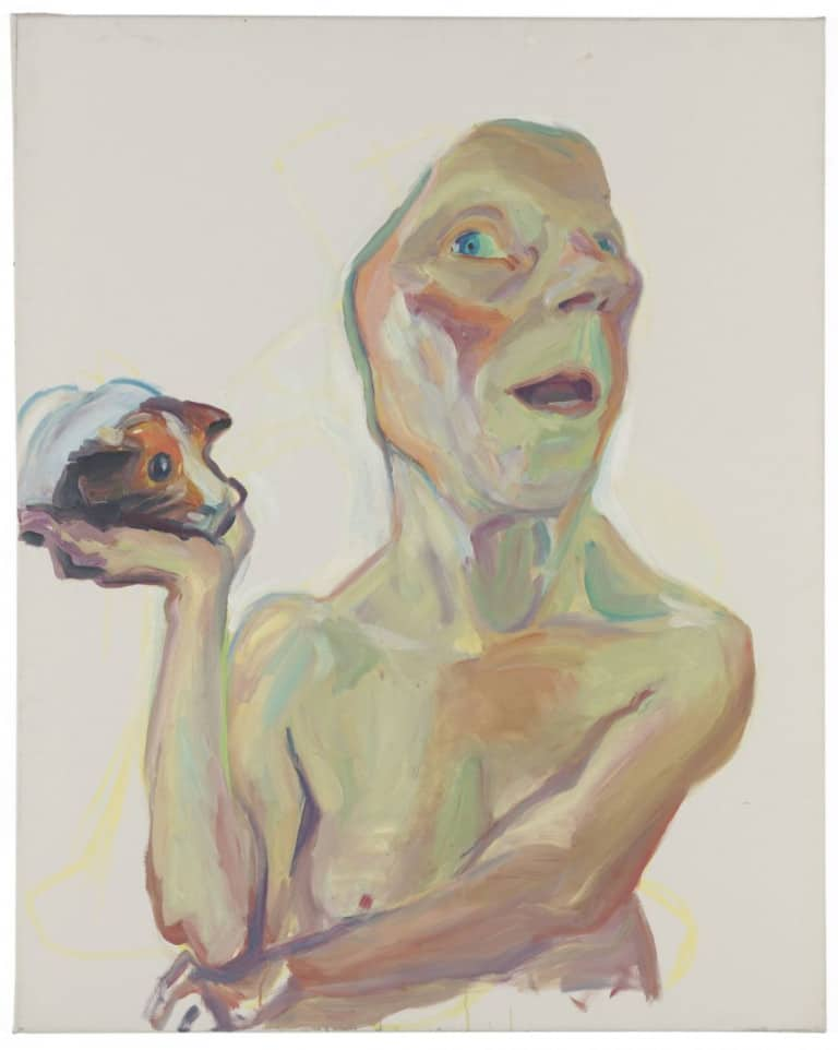 Maria Lassnig, Selbst mit Meerschweinchen, 2000. Private collection. Courtesy Hauser & Wirth Collection Services