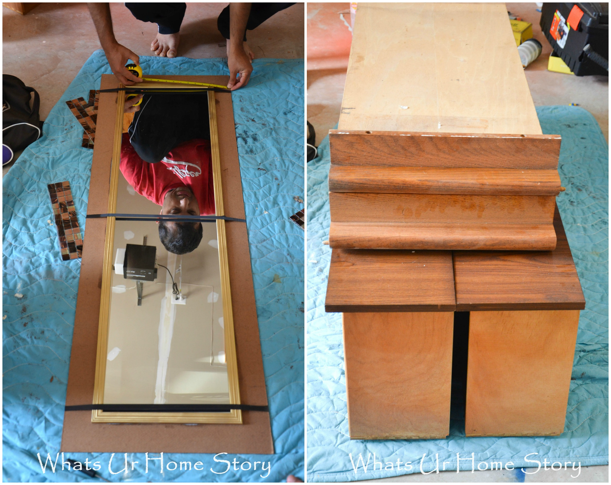 DIY Tile Mirror, how to make a mirror with tile frame, elmer's probond advanced, clamping tape