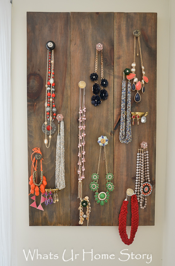 Making this jewelry organizer with knobs is easy