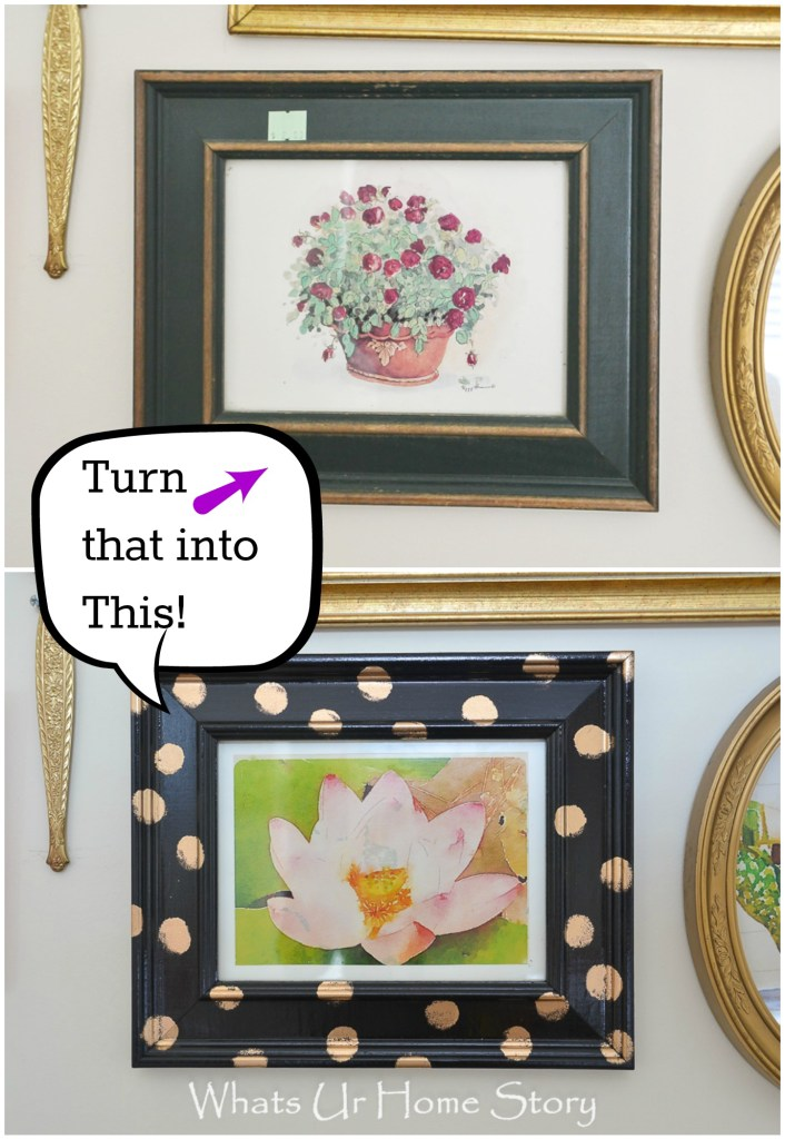 Thrift store frames makeover with spray paint and gold gilding