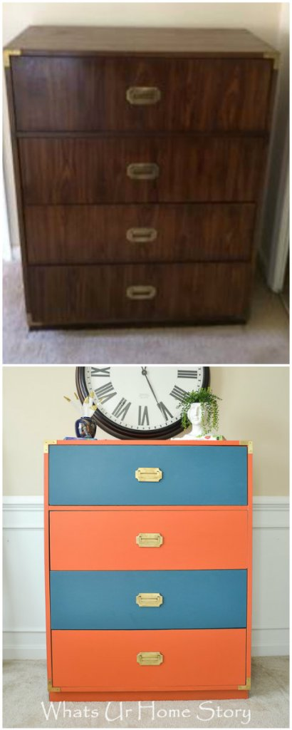Campaign dresser makeover with coral and navy paint