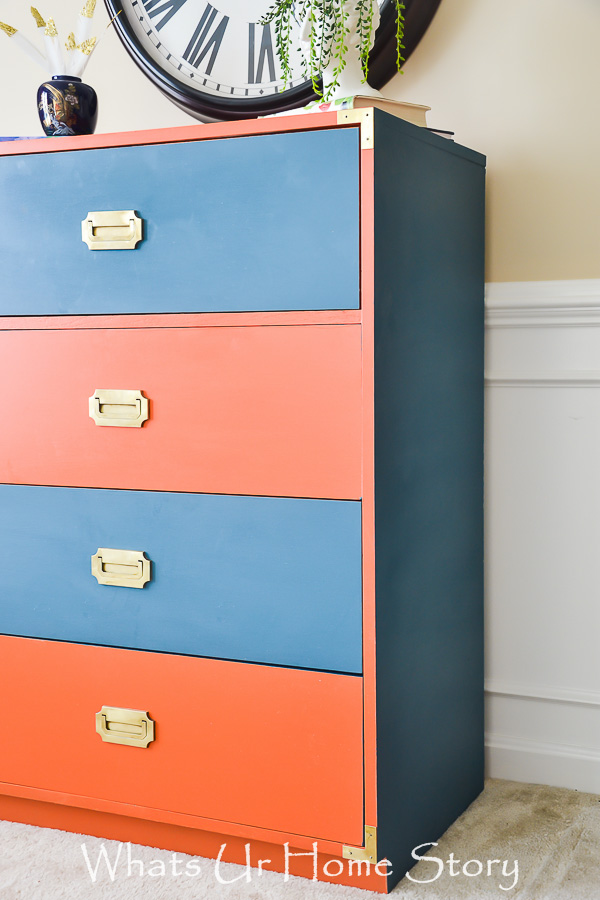 coral and navy dresser -how to paint a laminate dresser; General Finishes Persimmon and Annie Sloan Aubusson Blue