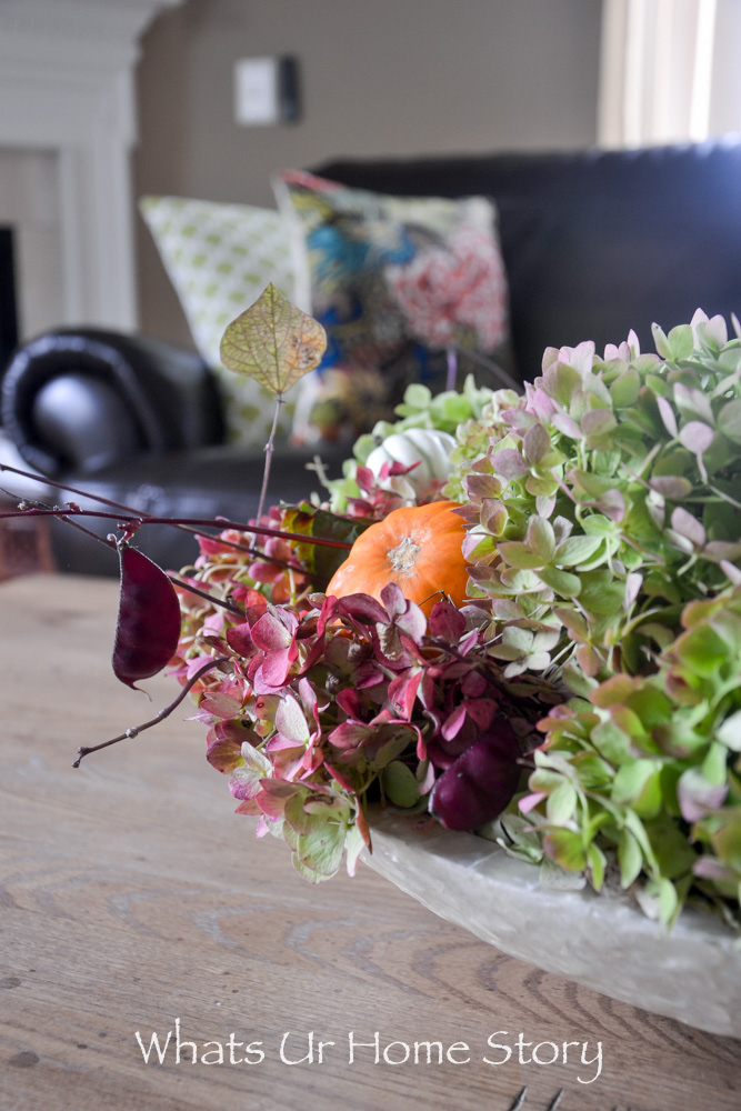 Easy Fall centerpiece with hydrangeas and pumpkins