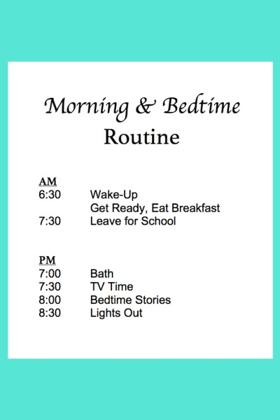 Morning & Bedtime School Routine