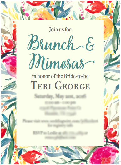 brunch and mimosas bridal shower invite