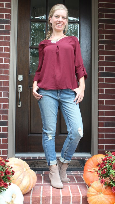 Stitch Fix- Sena Bar Back Blouse by 41Hawthorn and Maribel Distressed Straight Leg Jean by Kut From The Kloth