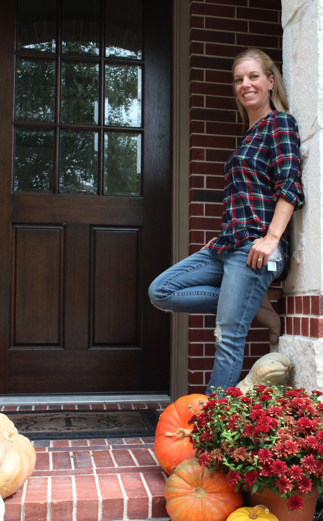 Stitch Fix - Colibri Plaid Henley Top by Market & Spruce and Maribel Distressed Straight Leg Jean by Kut From The Kloth