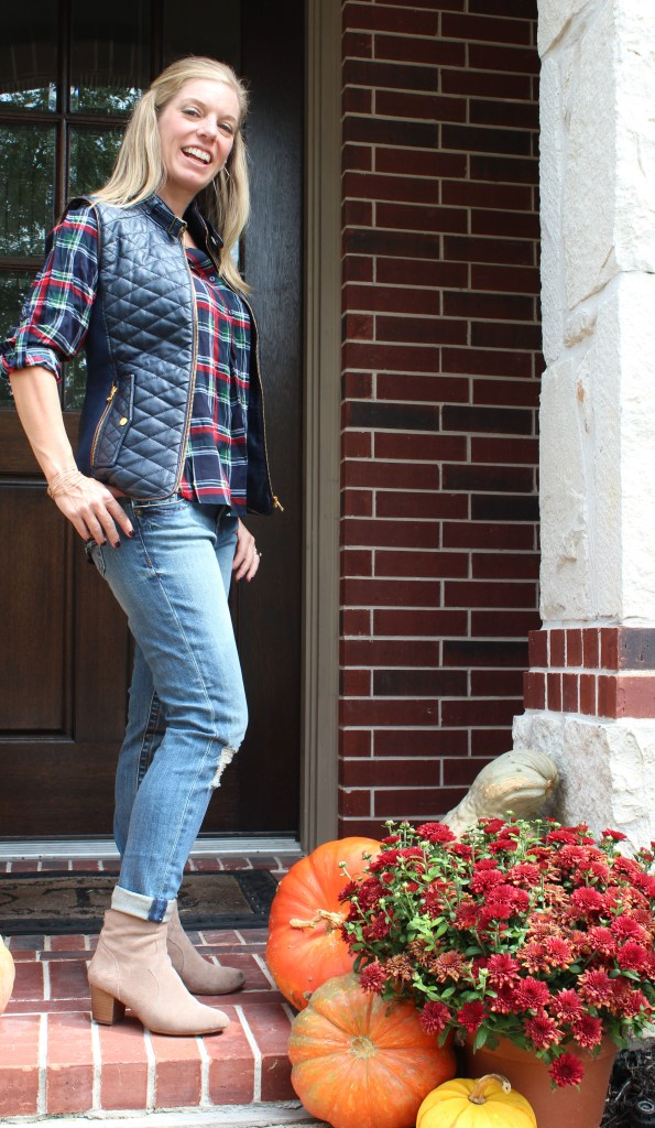 Stitch Fix - Colibri Plaid Henley Top by Market & Spruce and Rowen Faux Leather Quilted Vest by Fate and Maribel Distressed Straight Leg Jean by Kut From The Kloth