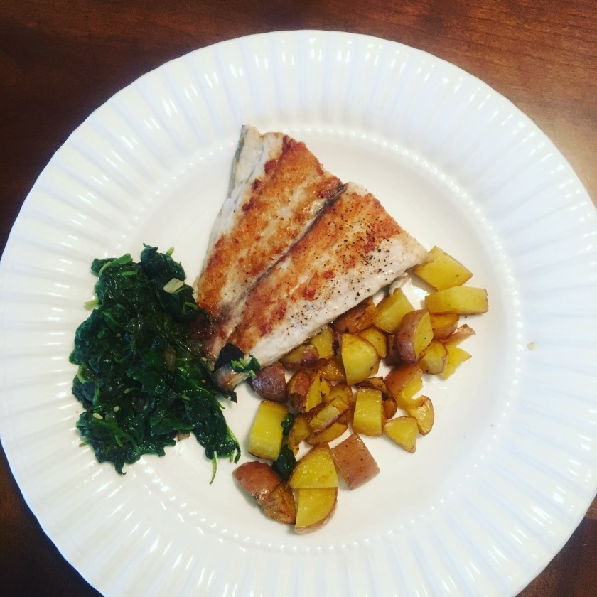 Blue Apron- Pan Seared Barramundi with Potatoes and Spinach