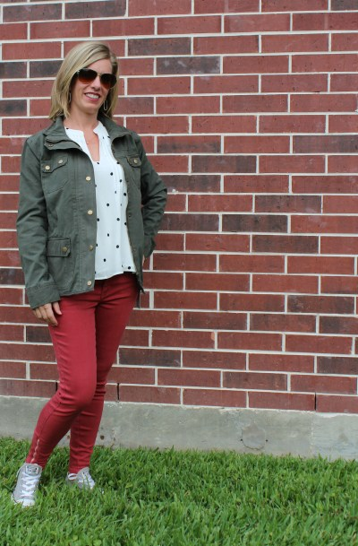 Stitch Fix -Jayai Pleating Detail Blouse by Collective Concepts, Lola Ankle Zip Skinny Jean by Just Black, Marve Cargo Jacket by Kut From The Kloth