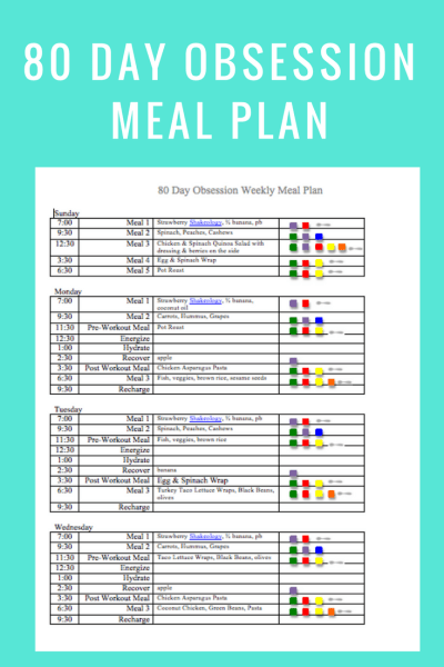 80 Day Obsession Meal Plan- feb 4