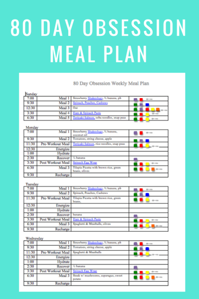 80 Day Obsession Meal Plan- march 11