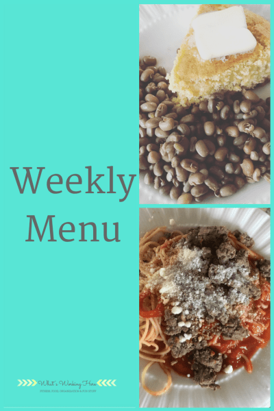 April 22nd Weekly Menu - Freezer Clean Out