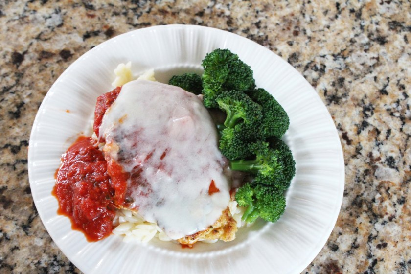 Chicken Parmesan meal- chicken parmesan with orzo and broccoli