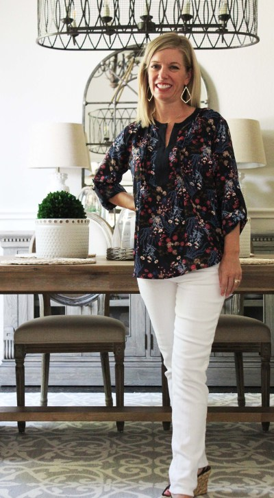 Stitch Fix Summer To Fall Style Collective Concepts blouse cosmic blue love jean